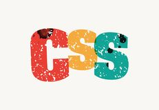 CSS Concept Stamped Word Art Illustration. The word CSS concept printed in letterpress hand stamped colorful grunge paint and ink. Vector EPS 10 available Stock Photos