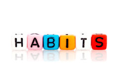 word cube of habits on white background Royalty Free Stock Photo