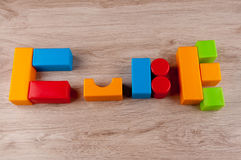 Word Cube made by kid`s toy blocks Royalty Free Stock Images
