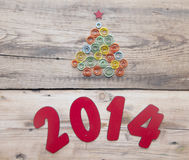 Word 2014 and curling paper Christmas tree Royalty Free Stock Photography