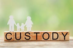 Word CUSTODY made of wooden blocks Stock Photos
