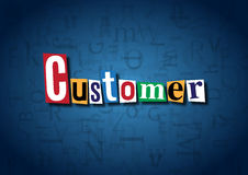 The word Customer made from cutout letters. On a blue background Royalty Free Stock Images