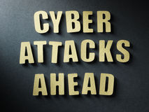 The word Cyber Attacks Ahead on paper background Stock Image