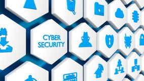 The word cybersecurity in blue and various security icons. On a white hexagon wall with blue background 3D illustration Royalty Free Stock Images