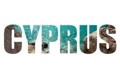 Word CYPRUS over Petra tou Romiou, Aphrodite's birthplace. Papho Stock Photo