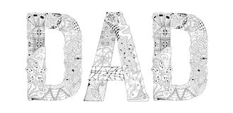Word DAD for coloring. Vector decorative zentangle object Stock Images