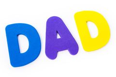 The word DAD. DAD spelt out with coloured letters Royalty Free Stock Images