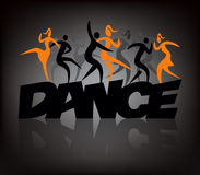 Word dance dancers. Word dance with people dancing modern and disco dance. Illustration on the black background.  Vector available Royalty Free Stock Photo