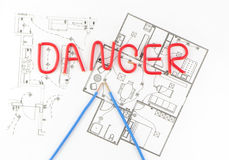 The word danger with wires Royalty Free Stock Photo