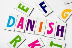 Word Danish made of colorful letters. On white background stock photos