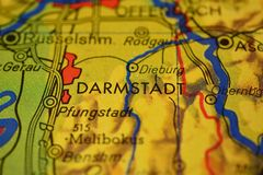 The word DARMSTADT on the map stock images