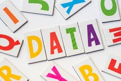 Word data made of colorful letters Royalty Free Stock Photos