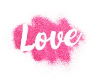 Word de forme d'amour sur le fond rose de scintillement Image libre de droits
