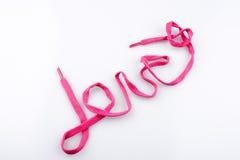 Word de l'amour écrit par l'aide du sholace Images libres de droits