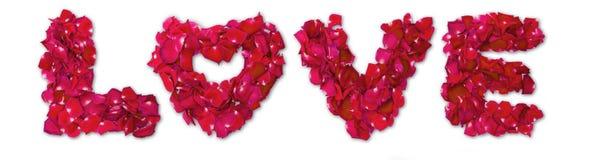Word de l'amour fait à partir de la rose de rouge Photographie stock libre de droits