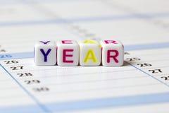 Word de l'année présentée sur un calendrier Photographie stock