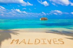 Word de Maldiven op strand Royalty-vrije Stock Foto