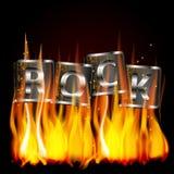 Word de vlam van het rotsmetaal Stock Fotografie