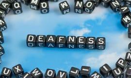 The word Deafness. On the sky background Stock Photos