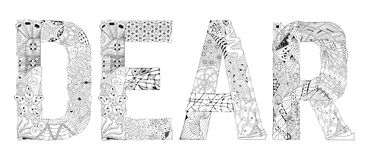 Word DEAR for coloring. Vector decorative zentangle object Stock Photography