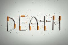 Word DEATH, made of cigarettes Stock Image
