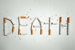 Word DEATH, made of cigarettes Stock Photo