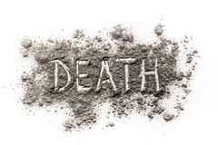 Word death written in dust as a metaphor for transience. Word death written in ash, dust as a metaphor for transience Royalty Free Stock Photos