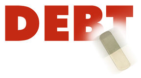 Word debt. Eraser and word debt concept of reduce debt Royalty Free Stock Images