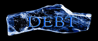 Word DEBT frozen in the ice Royalty Free Stock Image