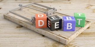 Debt text on colorful cubes and a mouse trap, wooden floor background. 3d illustration. Word debt letters on colorful cubes and a mouse trap, wooden floor Royalty Free Stock Images