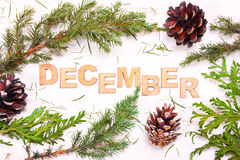 Word  December against the background of tree branches, cones on Royalty Free Stock Photo
