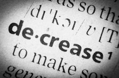 Word decrease, glossary, macro. The word decrease in English glossary, super macro Royalty Free Stock Images