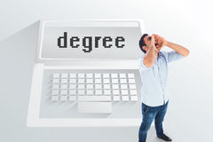 The word degree and shouting casual man Stock Photos