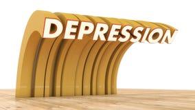 Word depressie en parketvloer Stock Fotografie