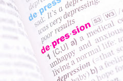 Word depression. In english dictionary Royalty Free Stock Images