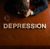 Word Depression and devastated man composition royalty free stock photos