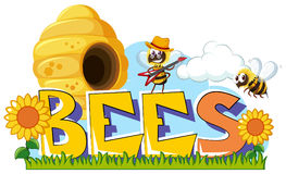 Word design for bees. Illustration Stock Photo