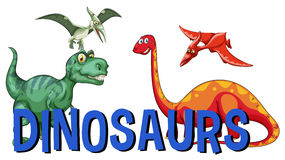 Word design for dinosaurs Stock Images