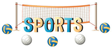 Word design for sports with ball and net Royalty Free Stock Images