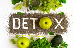 Word detox is made from chia seeds. Green smoothies and ingredie stock photos