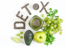 Word detox is made from chia seeds. Green smoothies and ingredients. Concept of diet, cleansing the body, healthy eating.  royalty free stock image