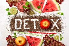 Word detox is made from chia seeds. Red smoothies and ingredients royalty free stock photos