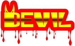 Colorful Word devil with drops isolated Royalty Free Stock Photo