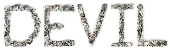 Devil - Crimped 100$ Bills. The word 'devil', made out of crimped 100$ bills Royalty Free Stock Photos