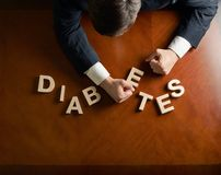 Word Diabetes and devastated man composition Stock Images