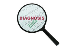 Word Diagnosis and magnifier. Word Diagnosis under a magnifier on white background stock photo