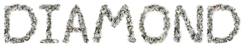 Diamond - Crimped 100$ Bills royalty free stock photos