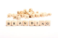 Word with dice  branding Royalty Free Stock Image