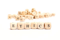 Word with dice ethics Stock Photography
