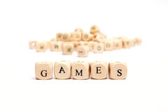 Word with dice games Stock Photos